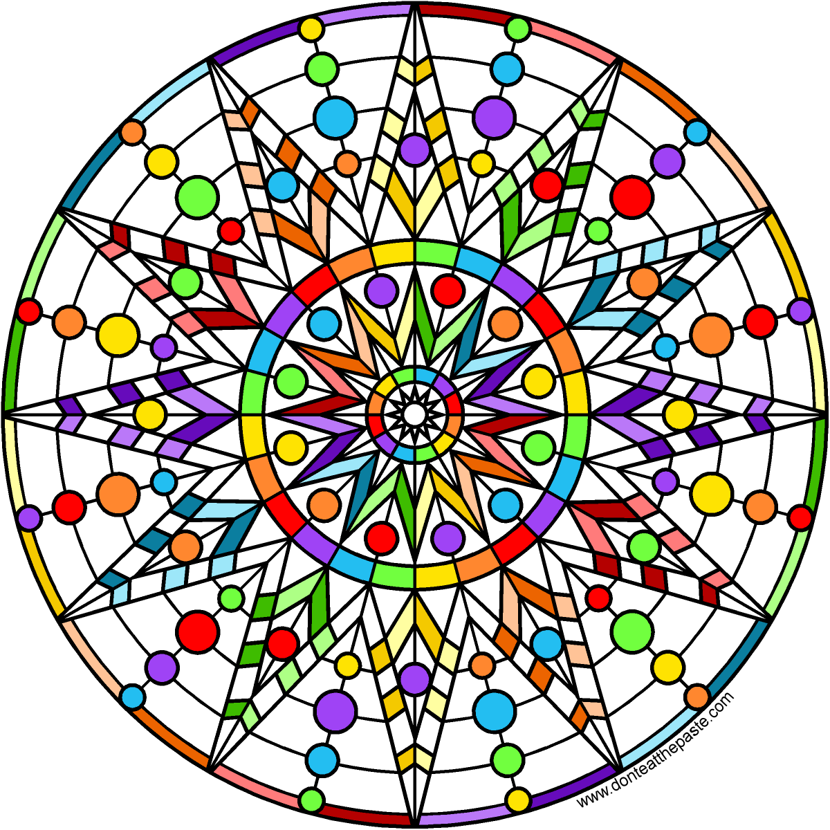 variety of free mandala printable coloring pages rainbow star mandala blank version available to - Blank Rainbow To Color