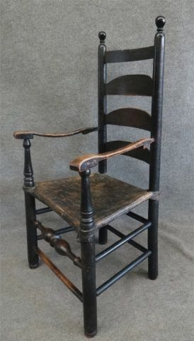 18th C Ladderback Armchair In Black Paint Early American