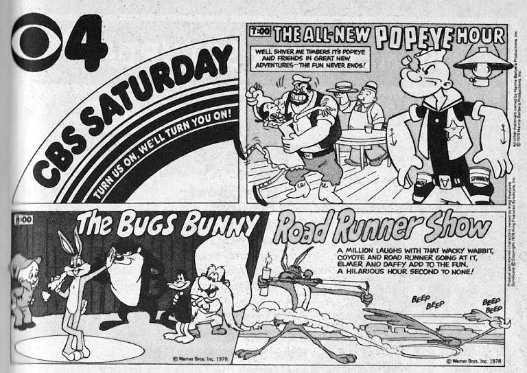 TV GUIDE ad for CBS Saturday Morning featuring The All-New Popeye Hour and The Bugs Bunny/Road Runner Show, September 16, 1978.