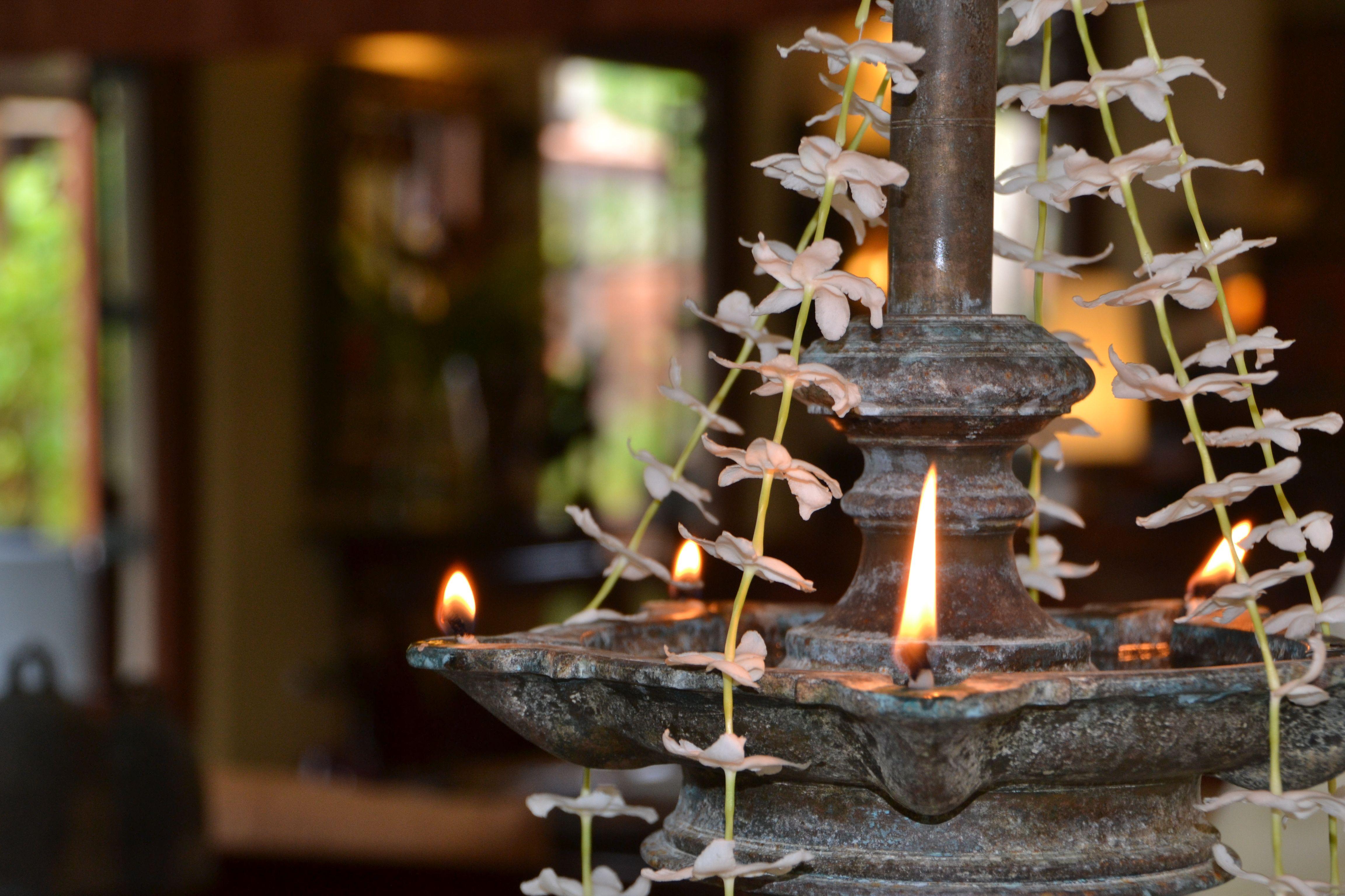 Traditional Sri Lankan Oil Lamp Lit During The Wedding Ceremony Luxuryresort Srilanka Tropicalwedd Oil Lamps Flower Background Wallpaper Flower Decorations