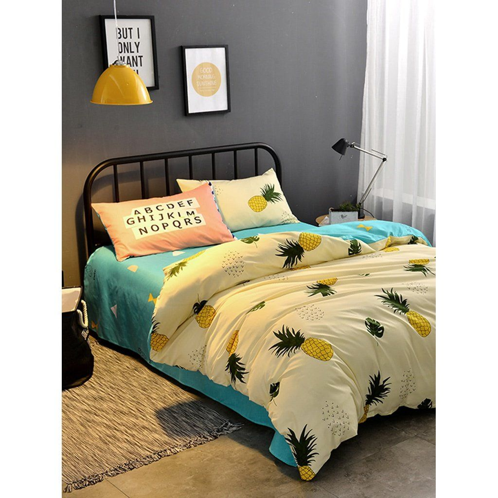 Type Sheet Sets Style Cartoon Color Multicolor Pattern Fruit Vegetable Material 100 Polyester Duvet Cover Size 150 200 Cm Pillow Case