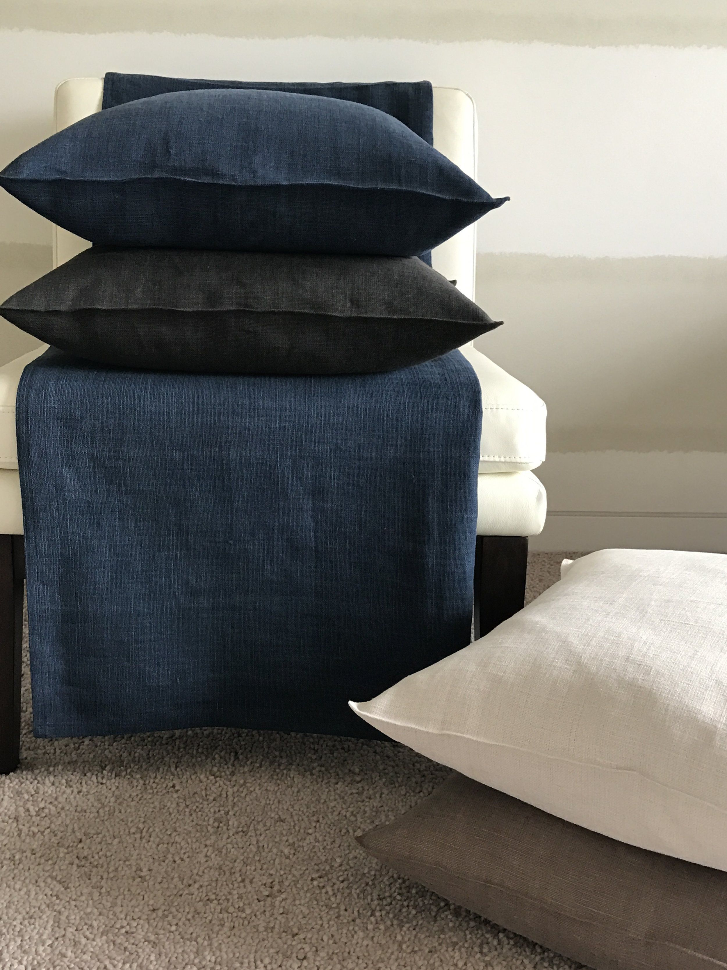 Libeco Linen HOME COLLECTION Pillows and Blanket  Canvas Cloth and Bowl