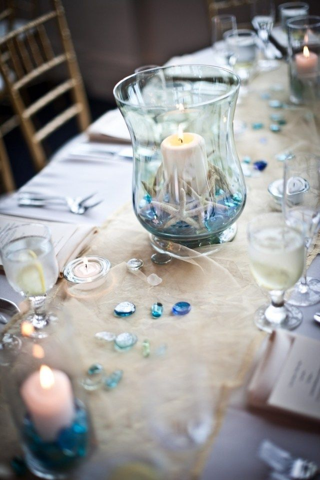 Hochzeit Tischdeko Ideen Meer Thema Windlicht Seesterne Dekosteine