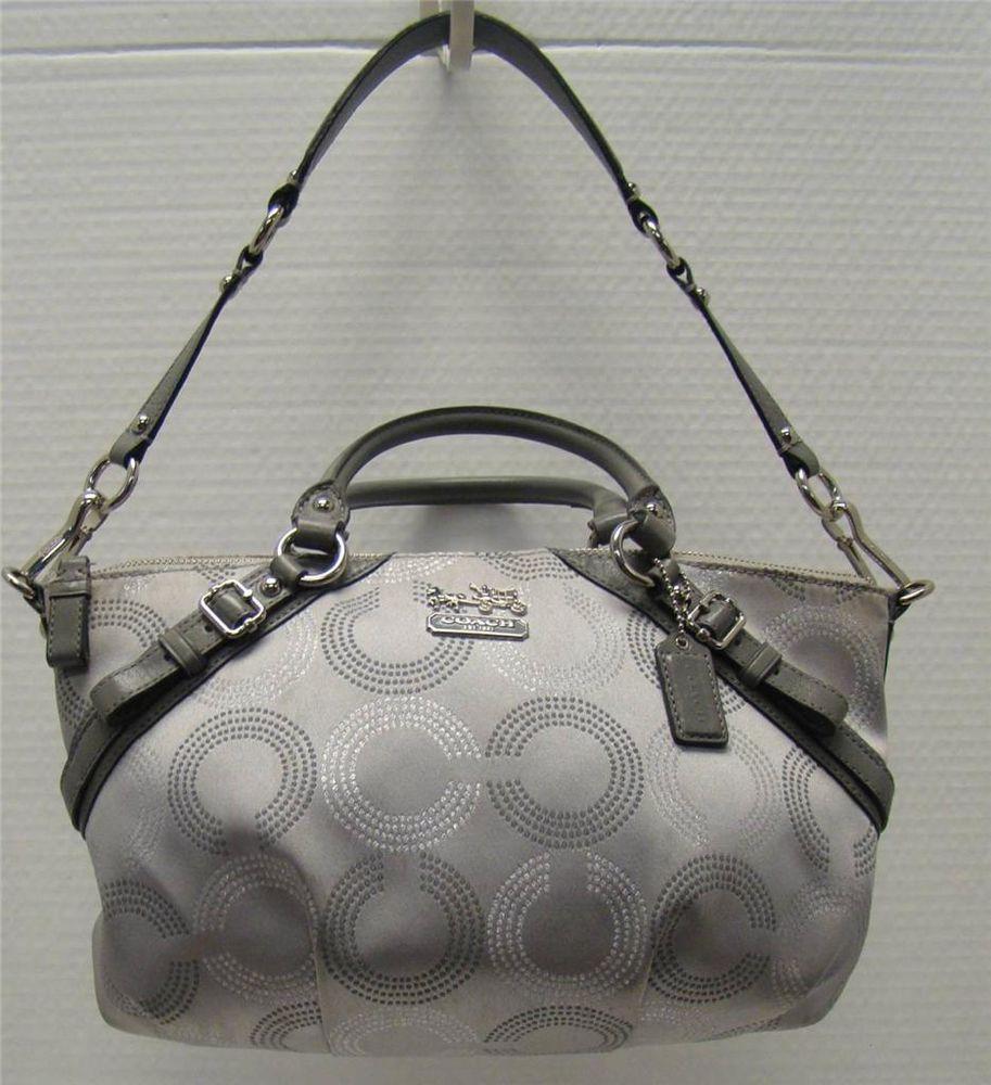 Coach 15935 madison sophia metallic gray silver op art