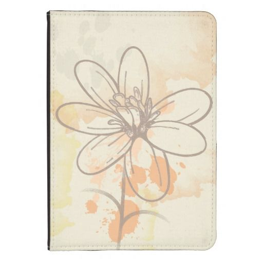 Sketched flower on watercolor paint splats kindle 4 cover