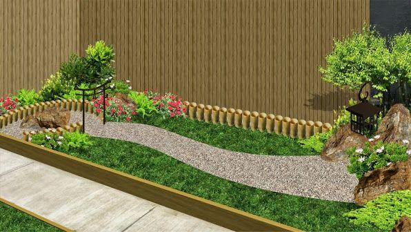 Jard n patio fachada estilo chino con mampara bambu foto 1 - Ideas para jardines pequenos fotos ...