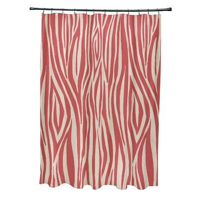 e by design Flora and Fauna Wood Print Shower Curtain Color:
