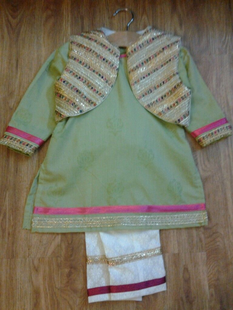 df9e464818 Green tunic dress with gota work jacket | pakistani little girls in ...