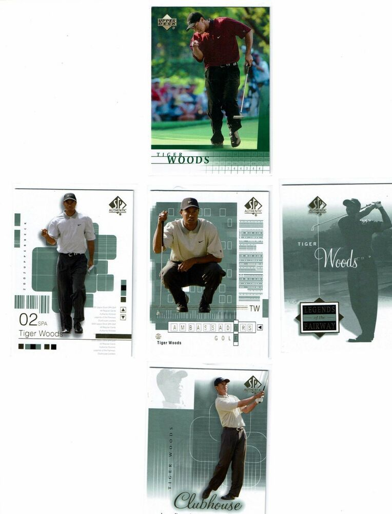 2001 2002 Upper Deck Tiger Woods Card Lot 5 Cards Rookie Sp