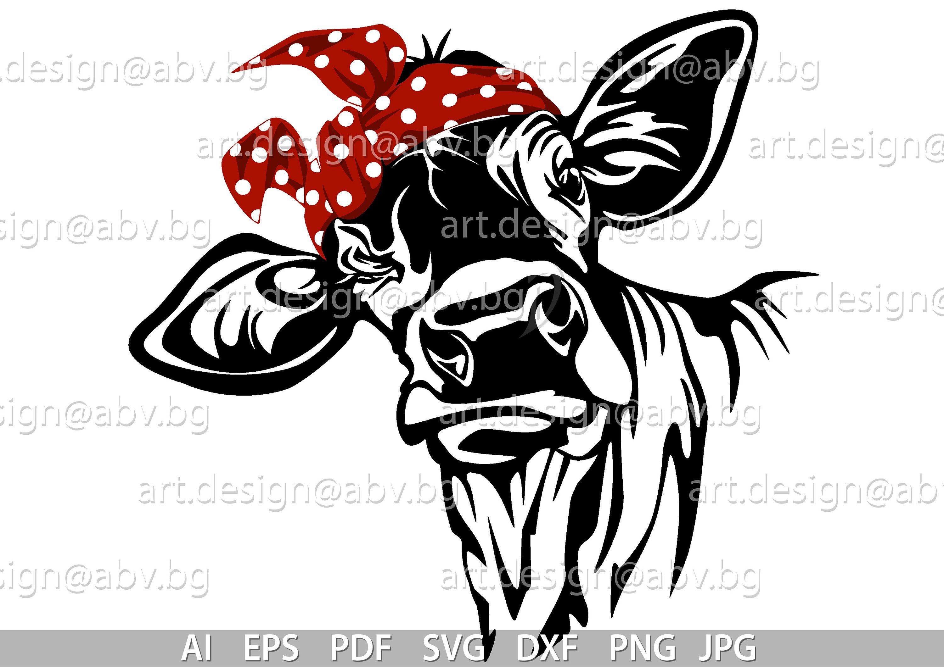 Vector COW with green and red bandana, calf, head, AI, PNG