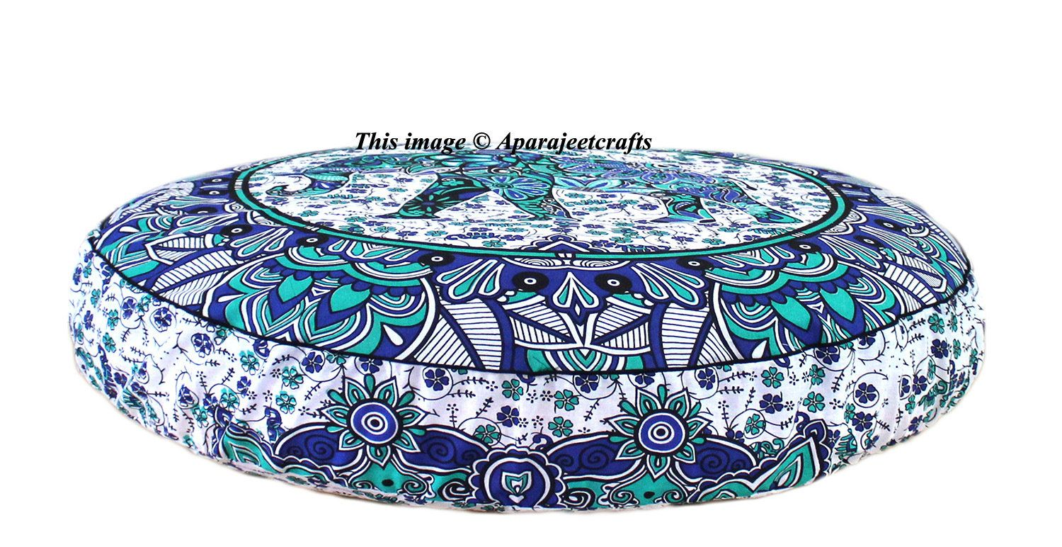 Large Mandala Floor Pillows With Insert Ethnic Cotton Round Throw Cushion Cover