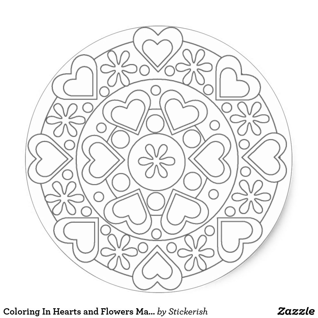 Coloring In Hearts And Flowers Mandala Sticker Zazzle Com Mandala Coloring Pages Mandala Coloring Heart Coloring Pages