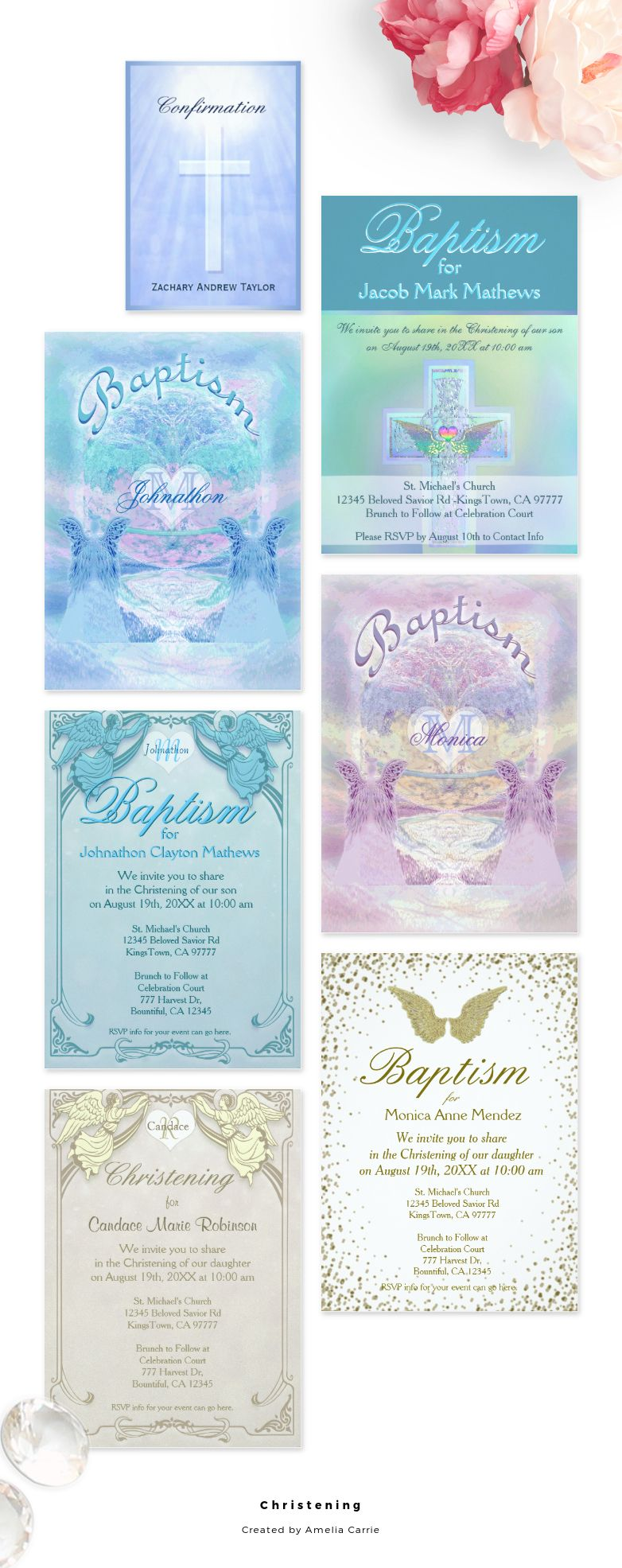 A collection of Christening / Baptism / Confirmation invitations that you can customize.
