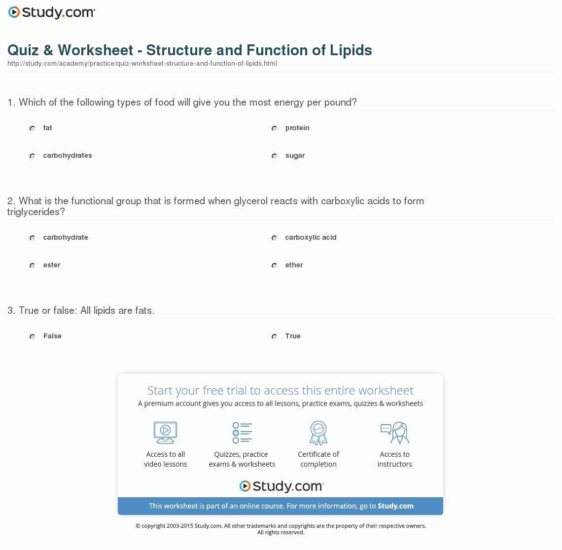 Lipids Worksheet Answer Key Lovely Lipid Worksheet Answer