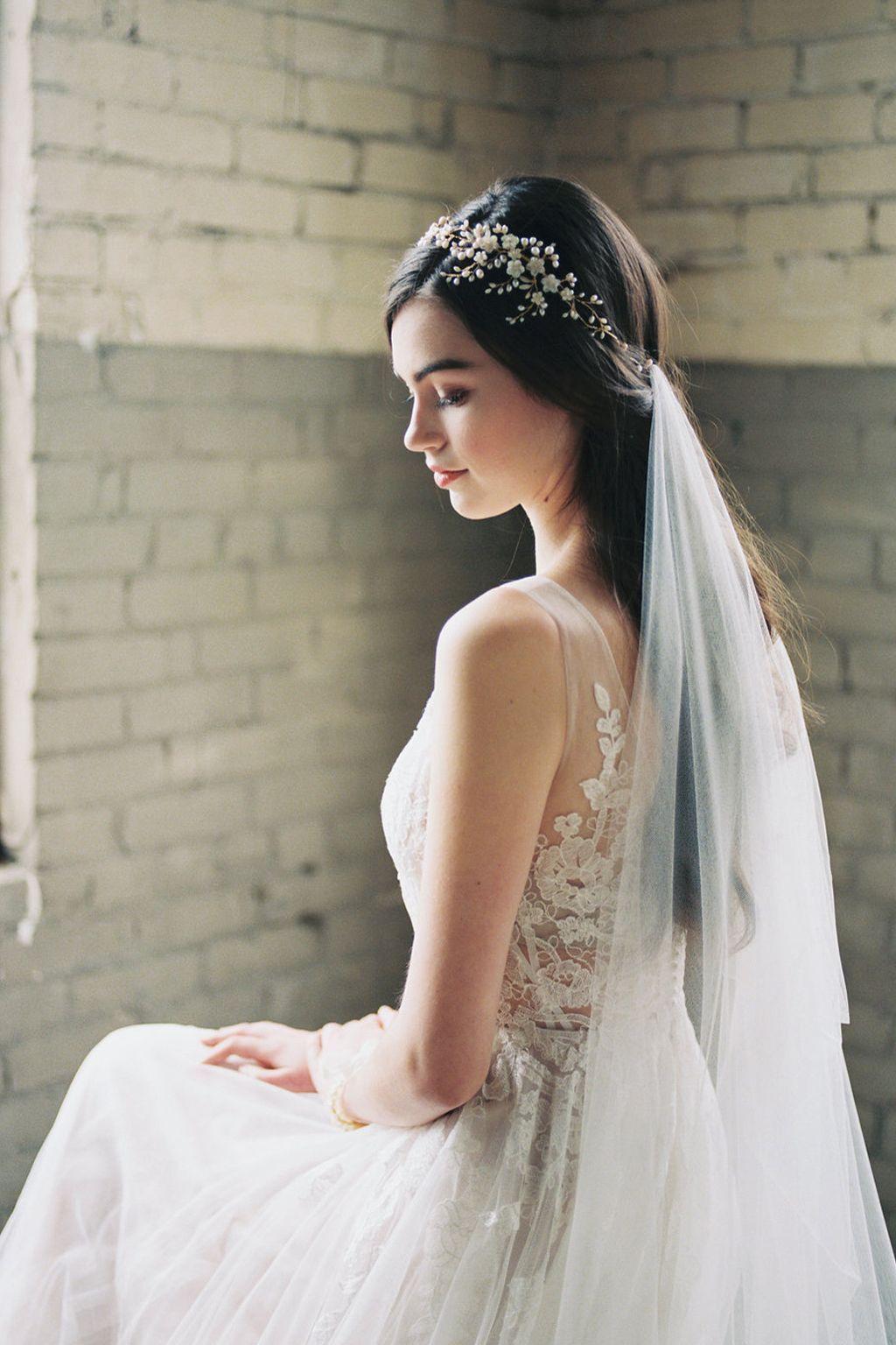 Wedding Headpiece With Hair Down Wedding Headpiece And Veil Romantic Bridal Hair Bohem Wedding Dress With Veil Floral Headpiece Wedding Bridal Headpieces