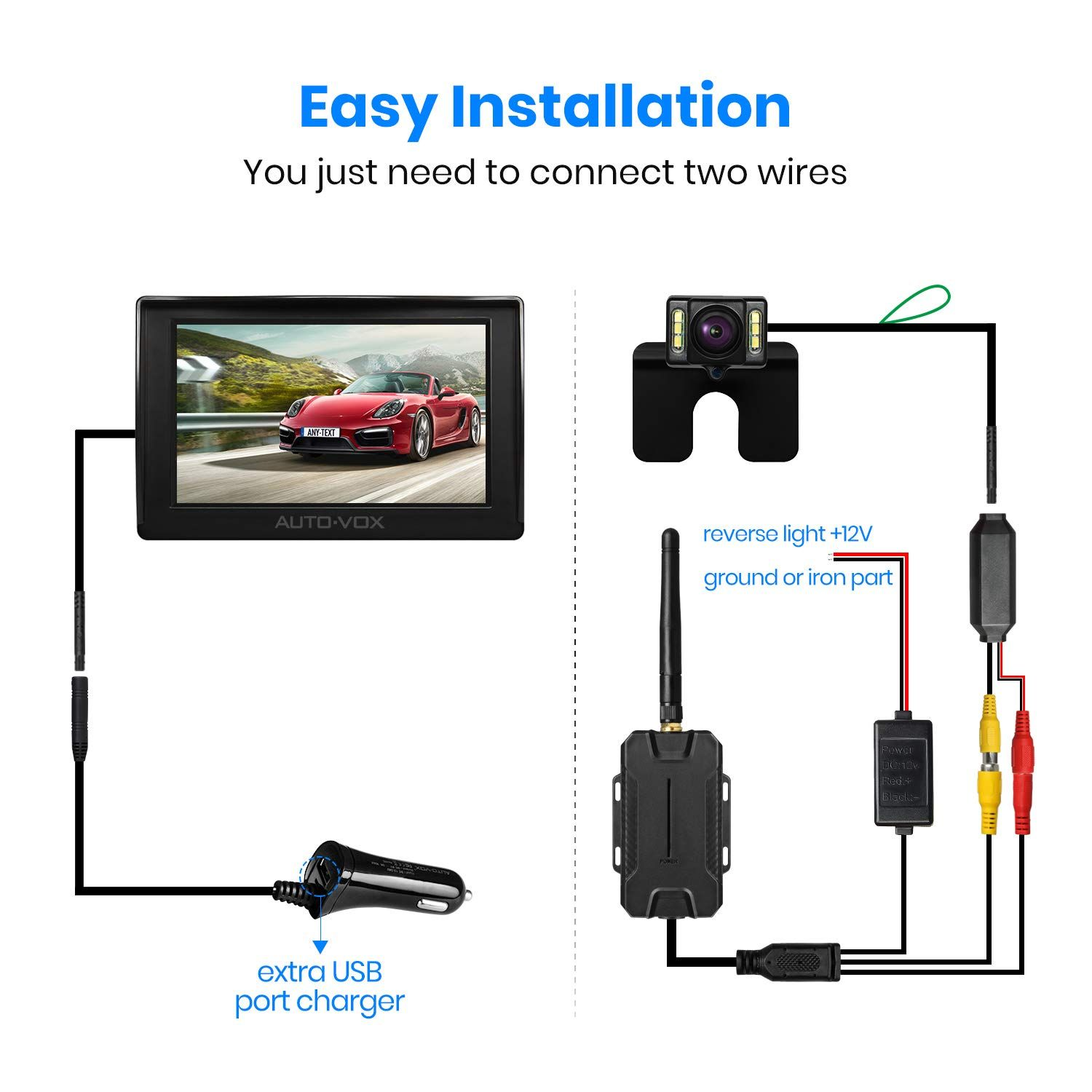 auto vox m1w wireless backup camera kit ip 68 waterproof led super night vision license plate reverse rear view back up car camera 4 3 tft lcd rearview  [ 1500 x 1500 Pixel ]