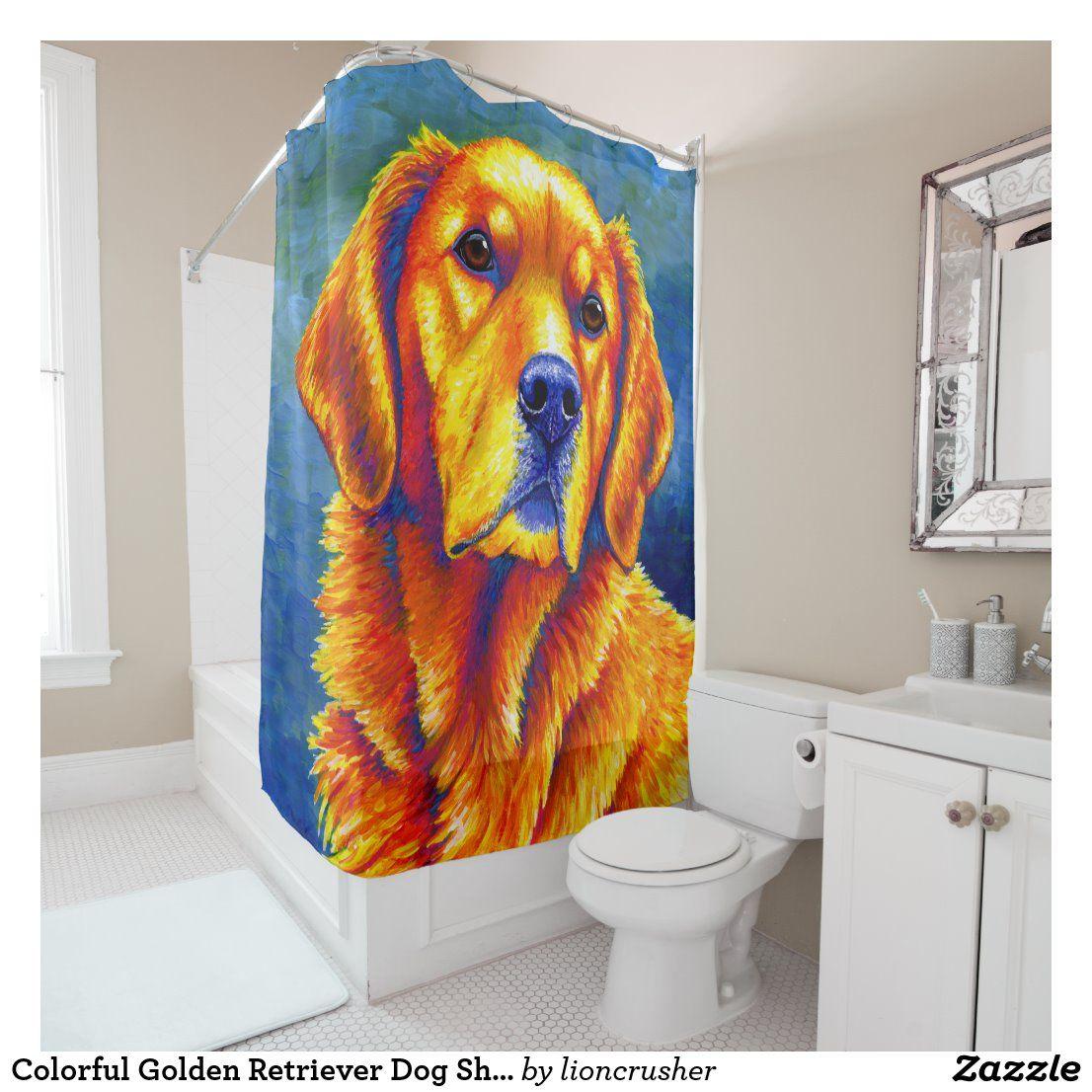 Colorful Golden Retriever Dog Shower Curtain Zazzle Com In 2020