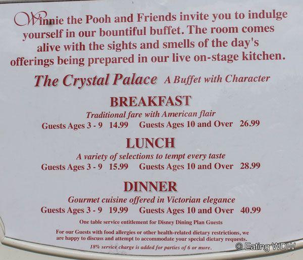 The Crystal Palace Disney Menu Magic Kingdom Menus