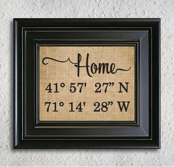 Personalised Home Is Where New Home Gift Print By: Home Latitude Longitude Burlap Print, Gps Coordinates Home
