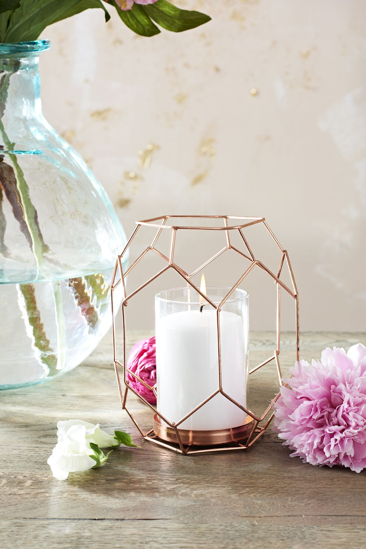 Copper Rose Gold Geometric Candle Holder Lantern | Floral ...
