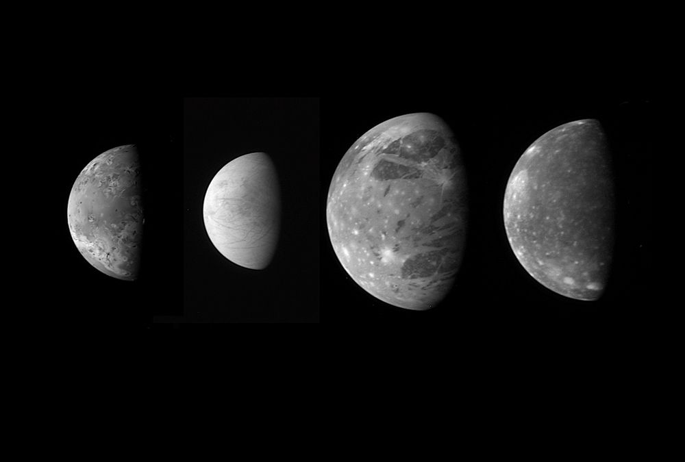 """Jupiter's Moons: Family Portrait  This montage shows the best views of Jupiter's four large and diverse """"Galilean"""" satellites as seen by the Long Range Reconnaissance Imager (LORRI) on the New Horizons spacecraft during its flyby of Jupiter in late February 2007. The four moons are, from left to right: Io, Europa, Ganymede and Callisto. The images have been scaled to represent the true relative sizes of the four moons and are arranged in their order from Jupiter."""