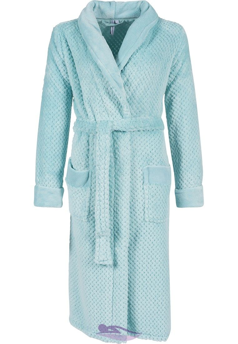 An extra soft   cosy  Honeycomb pattern  ladies light blue fleece  morninggown from Pastunette 724b901cb