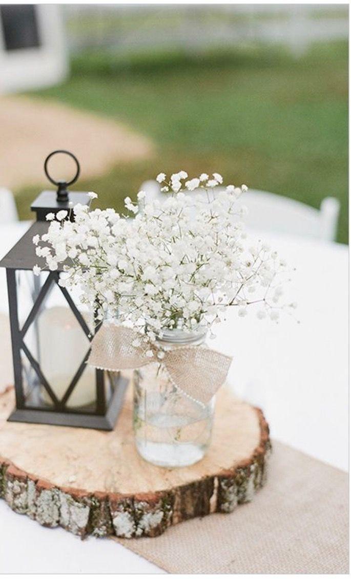 Baby S Breath On Wood Slab With Lantern Simple Affordable Elegant Rustic Wedding Centerpieces Red Barn Wedding Wedding Decorations