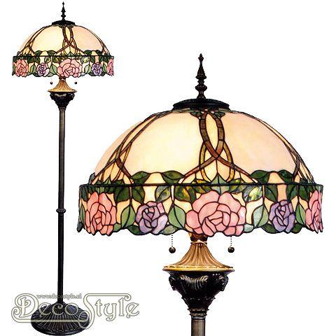 Tiffany Vloerlamp Ratya  Een bijzonder mooie vloerlamp. Helemaal met de hand gemaakt van echt Tiffanyglas. Dit originele glas zorgt voor de warme uitstraling. De voet is vervaardigd van bronskleurig metaal. Met 2x grote fitting (E27). Met schakelaar aan de kap. Afmetingen: Hoogte: 164 cm Diameter Kap: 50 cm