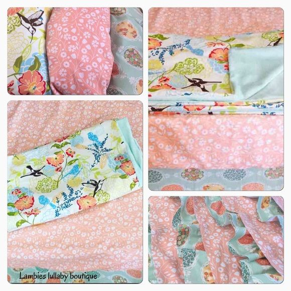 Hummingbird Fl Crib Toddler Bedding Set Adorable Custom Made Pastel