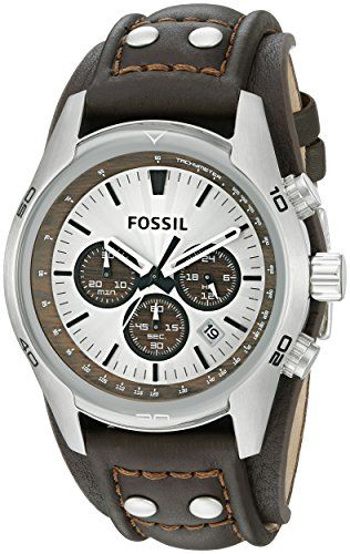 Robot Check Leather Watch Cuff Fossil Leather Watch Mens Watches Affordable