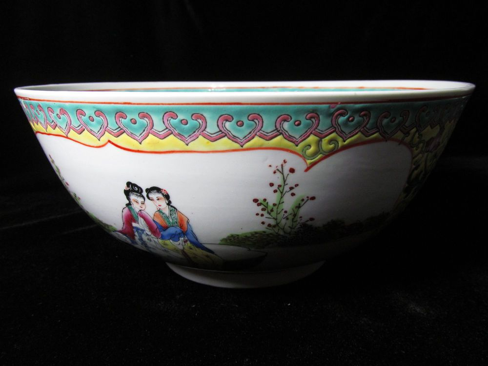 Chinese Large Porcelain Bowl With Beautiful Decor 10 X 5 5 Inches Beautiful Decor Porcelain Bowl Pottery Plates