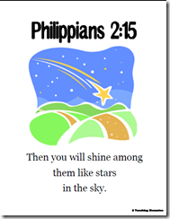 """Philippians """"Then you will shine among..."""" memory verse help from 2 Teaching Mommies"""