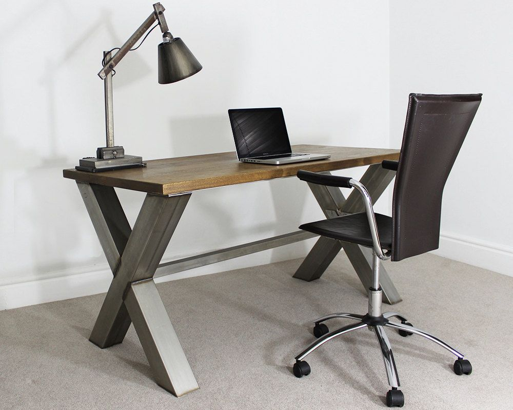 5ft Industrial Style Office Desk / Table by Russelloakandsteel on Etsy https://www.etsy.com/listing/205336769/5ft-industrial-style-office-desk-table