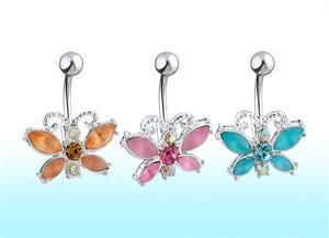 Frosted Gem Butterfly Non-Dangle Belly Button Navel Ring