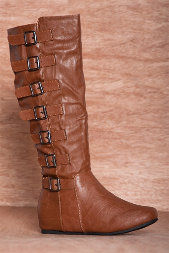 Strap Me In Flat Faux Leather 7 Buckle Boots 18-050 - Cognac from IF Carrini International Fashion at Lucky 21 #faux leather -  #buckle boots