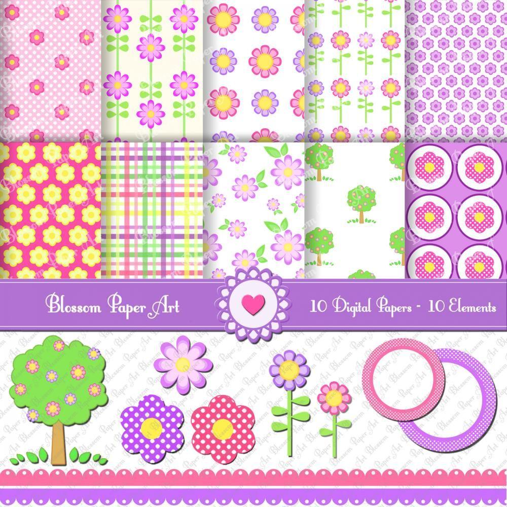 Free printable flower scrapbook paper scrap festa pinterest free printable flower scrapbook paper jeuxipadfo Choice Image