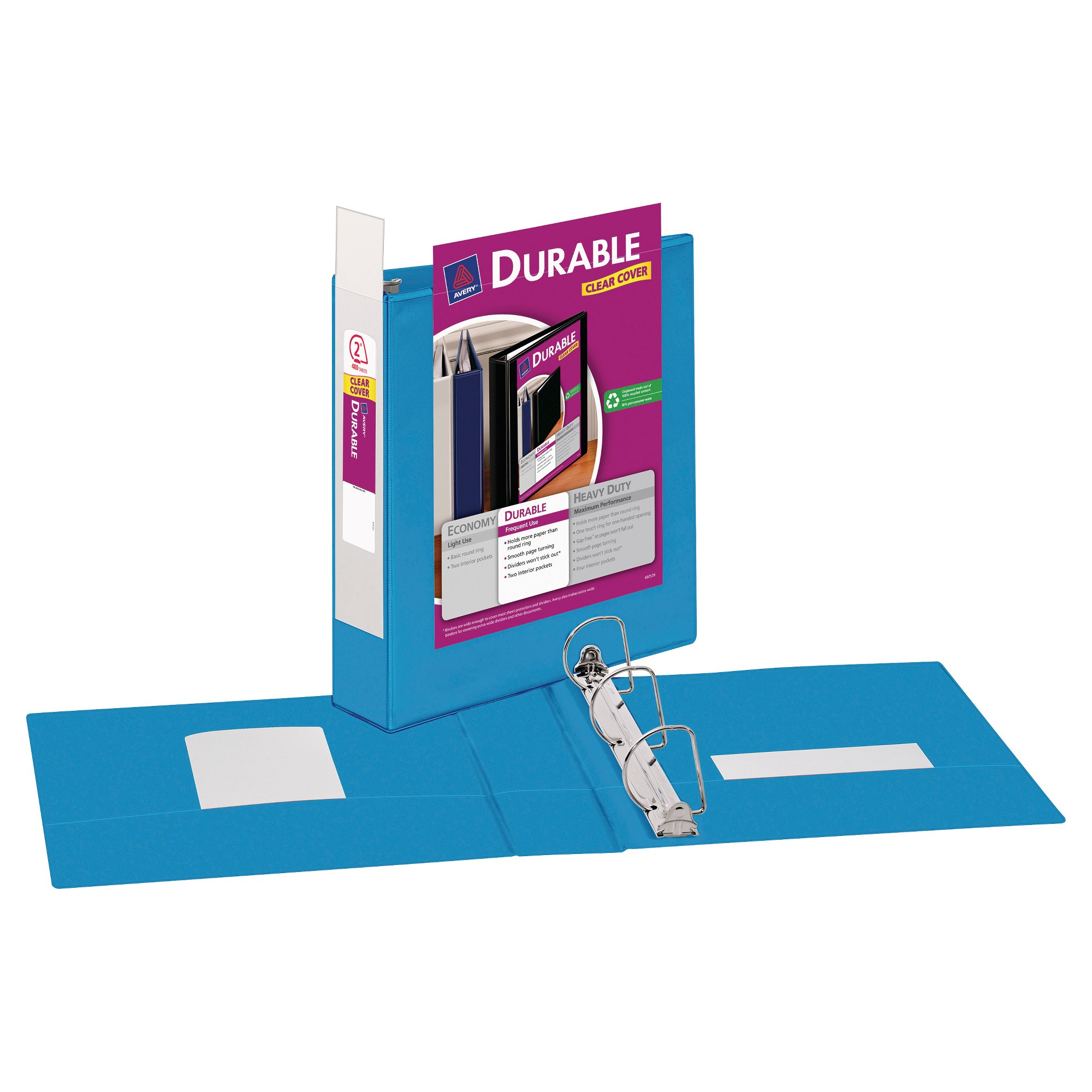 """Avery 2"""" Durable 3 Ring Binder With Clear Cover Blue"""