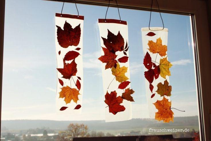 Anleitung: Kinder basteln ein Fensterbild mit Herbstlaub #autumnfoliage
