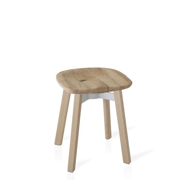 SU SMALL STOOL, RECLAIMED OAK SEAT WOODEN LEGSSU 18 WOOD WSWith the invisible values of design, engineering and strength, the Emeco SU Collection follows the Japanese aesthetic of 'su' — meaning plain or unadorned — the idea that simplicity is not only modest, but could possibly be more appealing than luxury. SU Stools embody Emeco bones, both in form and choice of materials. SU has the iconic seat of Emeco chairs made since 1944, and is made of reclaimed and recycled materials discovered…