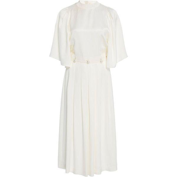 Silk Pleated Midi Dress | Moda Operandi (2.990 BRL) ❤ liked on Polyvore featuring dresses