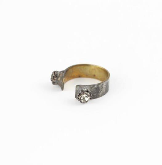 Adjustable brass ring with Swarovski crystals. #mooreaseal