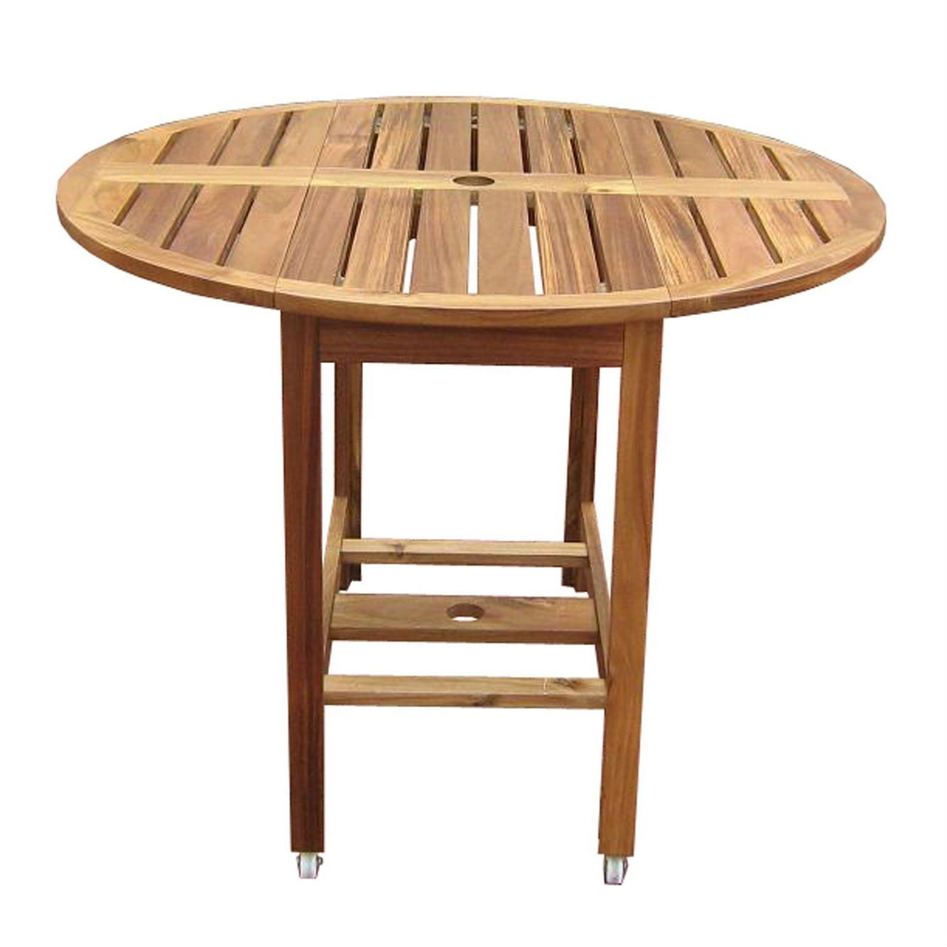 Kiln dried hardwood inch folding patio dining table with wheels