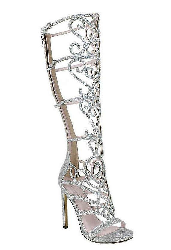 16f92fae01a Strappy Silver Glitter Sandals Bride   Prom
