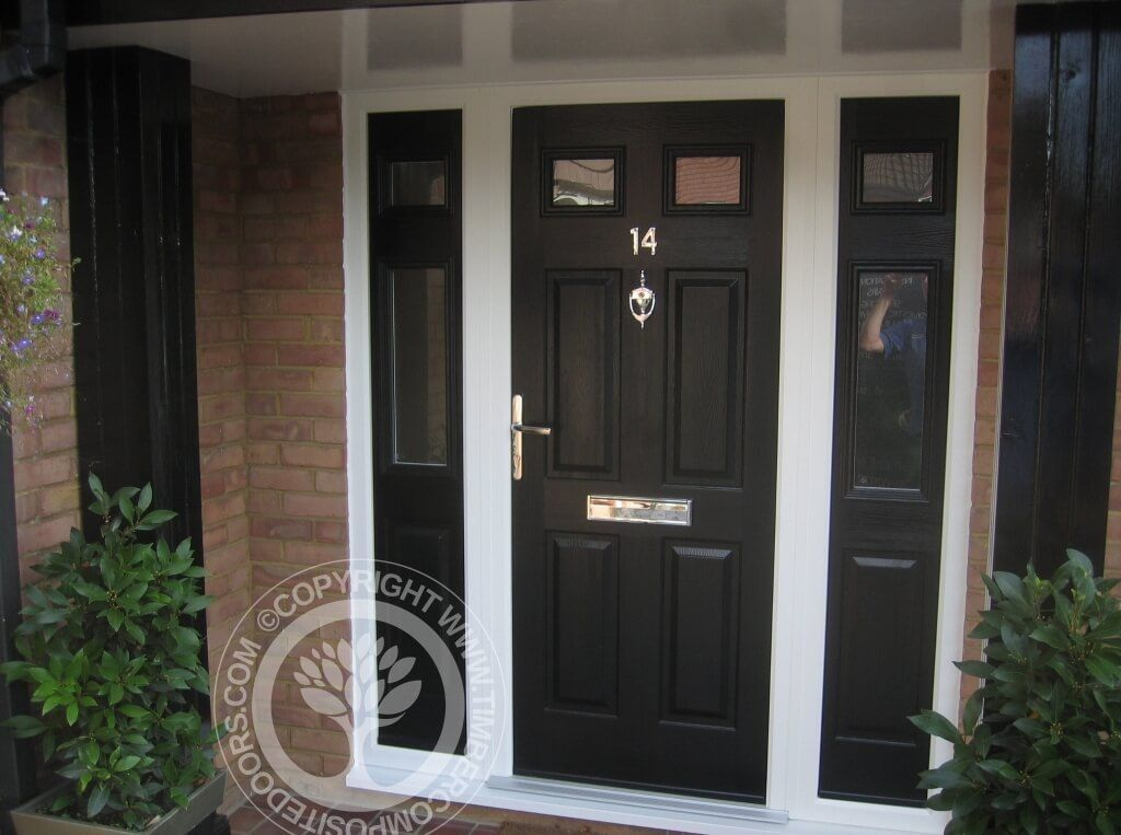 Elegant black composite front door with 2 side window for Exterior side entry doors