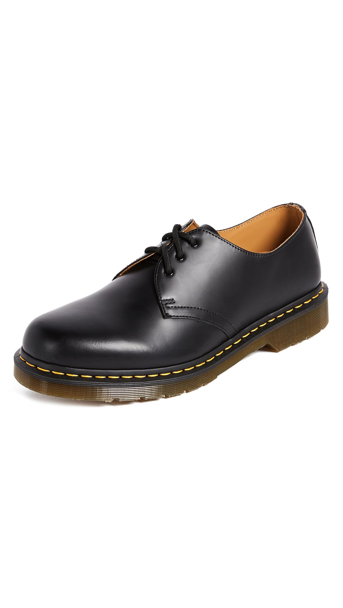 Dr martens 1461 3 eye gibson lace up oxfords in black
