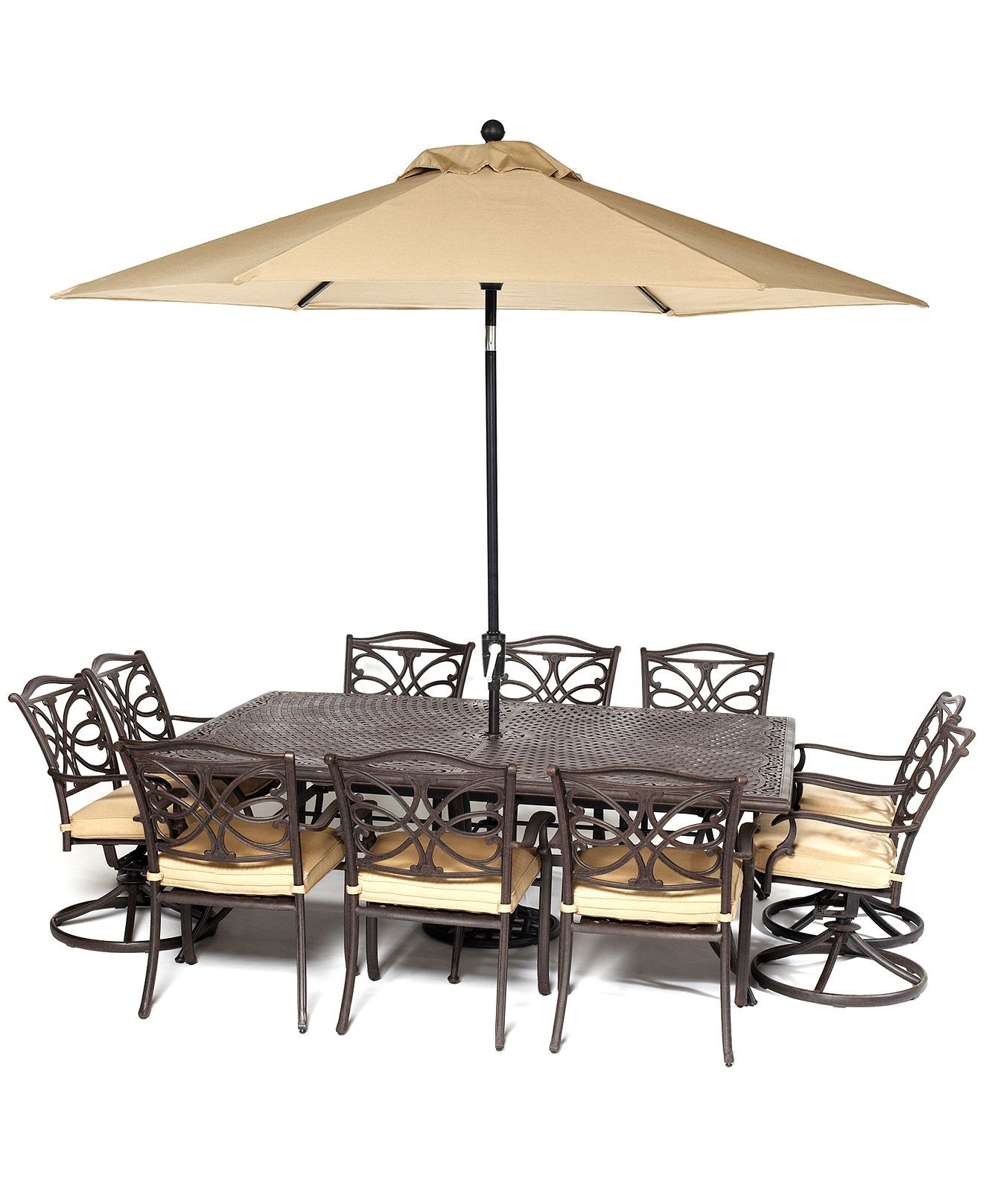 """CLOSEOUT Kingsley Outdoor Cast Aluminum 11 Pc Dining Set 84"""" x"""