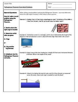 Pythagorean Theorem Word Problems  Word Problems Cornell Notes