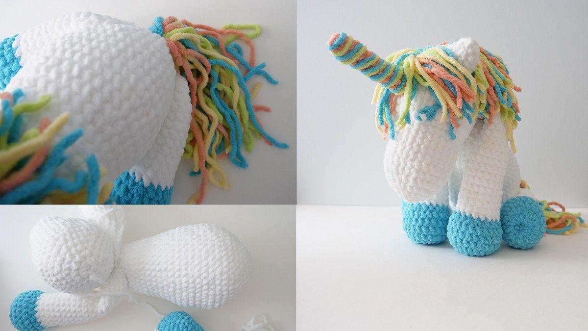 """Cuddles"" Crochet Unicorn with Bernat Blanket Yarn - Free ..."