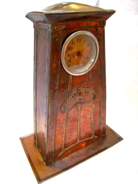 Copper clock by the Potteries Guild of Cripples (later known as the Duchess of Sutherland Cripples Guild), circa 1905.