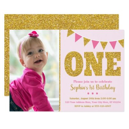 Pink and gold 1st birthday invitation with photo invitation ideas pink and gold 1st birthday invitation with photo glitter glamour brilliance sparkle design idea diy filmwisefo